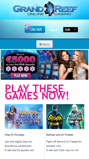 Grand Reef Casino & Indio Casino Web App