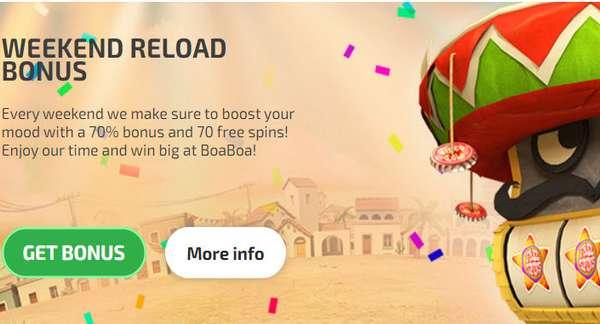 Boaboa Casino 70 Free Spins 70 Bonus